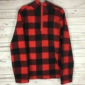 Arizona black red plaid quarter zip fleece pullove